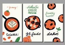 Cocina griega tradicional Fije de plantillas exhaustas del aviador de la mano divertida Queso de Saganaki, plato de la carne del  ilustración del vector
