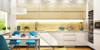 Cocina hermosa moderna del diseño interior stock de ilustración