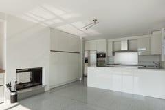 Cocina interior, blanca Fotografía de archivo libre de regalías