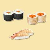 Cocina japonesa, sushi con los pescados, huevas libre illustration