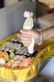 Cocina japonesa tradicional - sushi Foto de archivo