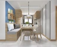 cocina mínima blanca de la representación 3d con la decoración de lujo imágenes de archivo libres de regalías