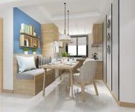 cocina mínima blanca de la representación 3d con la decoración de lujo fotografía de archivo libre de regalías