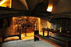 Cocina medieval, castillo de Issogne, el valle de Aosta. Fotografía de archivo