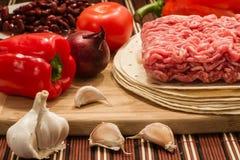 Cocina mexicana, carne y vehículos Foto de archivo libre de regalías
