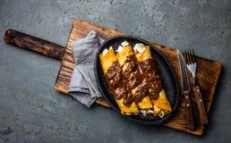 Cocina mexicana Enchiladas mexicanos tradicionales del pollo con el poblano picante del topo de la salsa del chocolate Enchiladas Fotos de archivo libres de regalías