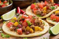 Cocina mexicana - tortillas con chili con carne, salsa del tomate Imágenes de archivo libres de regalías