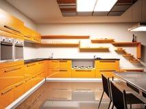 Cocina moderna 3d interior stock de ilustración