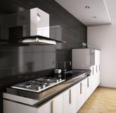 Cocina moderna 3d interior Fotografía de archivo