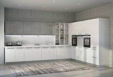 Cocina moderna brillante blanca en un interior Imagenes de archivo