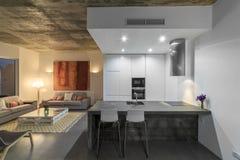 Cocina moderna con el suelo de baldosas gris y la pared blanca foto de archivo