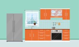 Cocina moderna con muebles Diseño interior stock de ilustración
