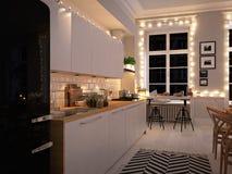Cocina nórdica en un apartamento representación 3d Concepto de la acción de gracias Fotos de archivo libres de regalías
