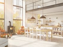 Cocina nórdica en un apartamento representación 3d Concepto de la acción de gracias Imagenes de archivo