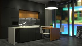 Cocina oscura moderna con la ventana fotos de archivo libres de regalías