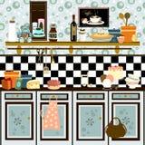 Cocina retra del estilo de país (técnica temprana del color ilustración del vector