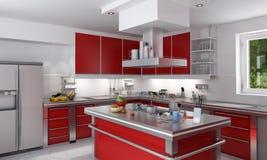 Cocina roja Imagen de archivo