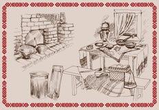 Cocina rusa vieja Imágenes de archivo libres de regalías