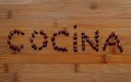 Cocina title with Azuki beans stock images