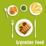 Cocina tradicional y pasteles de Argentina stock de ilustración