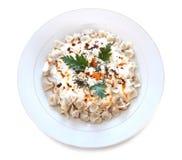 Cocina turca tradicional - Manti - raviolis turcos Fotos de archivo libres de regalías