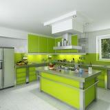 Cocina verde moderna Imágenes de archivo libres de regalías