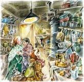Cocina vieja en estilo soviético stock de ilustración
