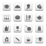 Cocina y cocinar los botones del web Imagen de archivo libre de regalías