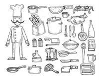 Cocina y elementos el cocinar, ejemplo del vector Foto de archivo libre de regalías