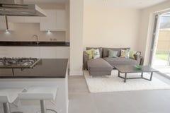 Cocina y sala de estar residenciales Imágenes de archivo libres de regalías