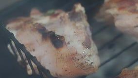 Cocinando cierre asado a la parrilla del pollo para arriba metrajes