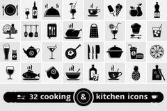 Cocinando e iconos de la cocina fijados Imágenes de archivo libres de regalías