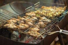 Cocinando la barbacoa de la carne en la parrilla hecha de sistema del dep?sito de gasolina en el patio trasero foto de archivo