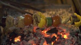 Cocinando la carne ase y las verduras asan a la parrilla en la barbacoa al aire libre Ciérrese encima de la carne y de las verdur metrajes