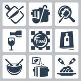 Cocinando la comida y la cena de iconos relacionados del vector Foto de archivo libre de regalías