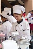 Cocinando la escuela de la competencia de los estudiantes de la gestión de negocio (cocinero menor del hierro) Fotografía de archivo libre de regalías