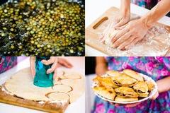 Cocinando las empanadas de la lenteja fijadas Fotos de archivo