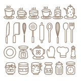 Cocinando los iconos de las herramientas fijados Fotos de archivo libres de regalías
