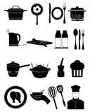 Cocinando los iconos fijados Imagenes de archivo