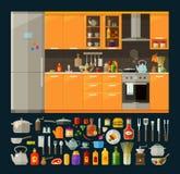 Cocinando los iconos fijados muebles modernos de la cocina y Fotos de archivo