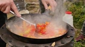 Cocinando verduras con la carne al aire libre Verduras fritas en una caldera Concepte de las vacaciones El humo sube lentamente s metrajes
