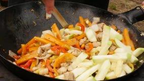 Cocinando verduras con la carne al aire libre Verduras fritas en una caldera Concepte de las vacaciones 4 K almacen de video