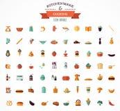 Cocinando y apoyando los iconos planos, elementos del artículos de cocina Imágenes de archivo libres de regalías