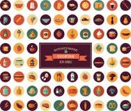 Cocinando y apoyando los iconos planos, elementos del artículos de cocina Fotos de archivo libres de regalías