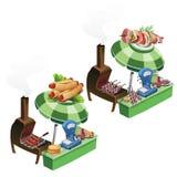 Cocinando y vendiendo la barbacoa, salchicha al aire libre Imagenes de archivo