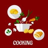 Cocinar diseño plano Fotos de archivo libres de regalías