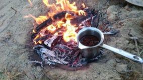 Cocinar el café de la comida foto de archivo