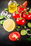 Cocinar el fondo, ingredientes de la ensalada imagen de archivo libre de regalías