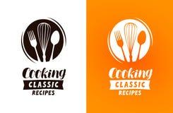 Cocinar el logotipo o la etiqueta Comida, concepto de la cocina, ejemplo del vector ilustración del vector