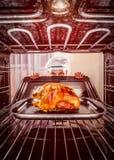 Cocinar el pollo en el horno Foto de archivo libre de regalías